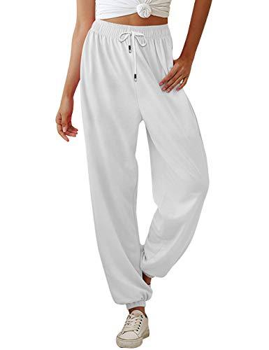 Yidarton - Pantalones de chándal para mujer, casual, de gran tamaño, con bolsillos