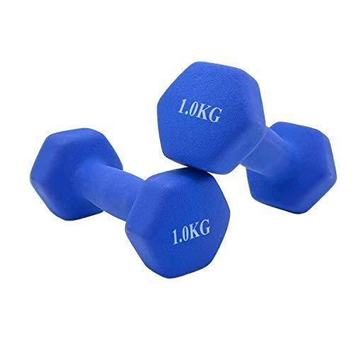 ALLPERCOM Mancuernas con Revestimiento de Neopreno, Pack DE 2. Color Azul. Peso de 1 Kilo. Material Antideslizante y ANTIRODADURAS.