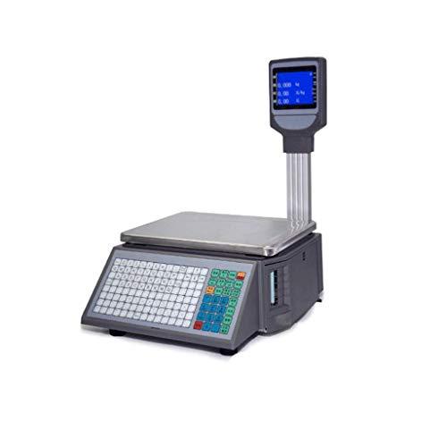 TEHWDE Mechanische Küchenwaage Elektronische 5-kg-WaageHigh-End-LCD-Barcode-Waage mit Selbstklebendem Etikettendruck Supermarkt-Obstladen-Registrierkassenwaage