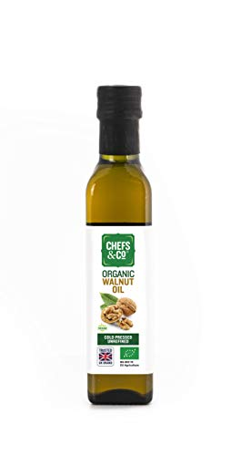 CHEFS & CO Olio di noce spremuto a freddo biologico (non raffinato) -250ml | pressato delicatamente a freddo senza agenti chimici | Ricco di Omega-3 e Omega-6 e fitonutrienti