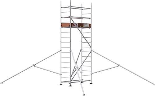 ALTEC Rollfix® 2.0 500 | 5m Arbeitshöhe | hvst. Fußplatten | Dreieckausleger | Made in Germany | TÜV&GS | belastbar 200kg/m² | Norm - EN 1004:2005 | Modulares Alu Arbeitsgerüst | Baugerüst
