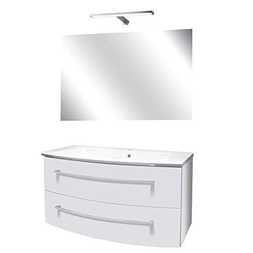 FACKELMANN helles Badmöbel Set 4-TLG. Rondo mit Waschtisch Unterschrank hängend Gussbecken 100 cm & Badspiegel & LED Aufsatzleuchte