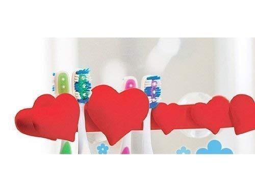 Herz Zahnbürstenhalter 5 fach rot