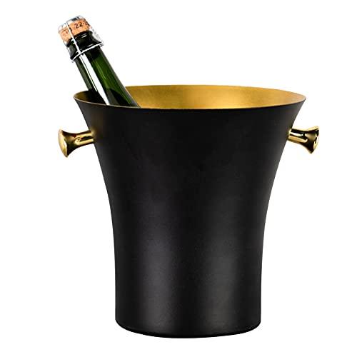 LTLWSH Cubiteras de Acero Inoxidable, Cubo De Hielo Gran Capacidad, Cubo De Vino Aislado Y Fácil De Limpiar, Utilizado para Champán, Cerveza,Negro,with Handle