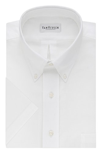 Van Heusen Men's Short Sleeve Oxford Dress Shirt, White, Medium
