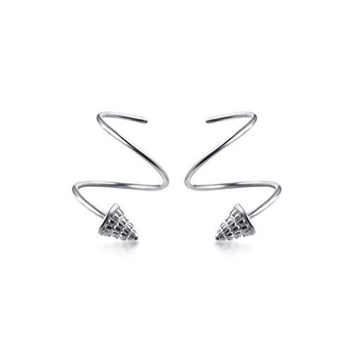 Zaaqio Pendientes de botón cónico de Onda giratoria geométrica para Mujer Accesorios de joyería de Plata Real