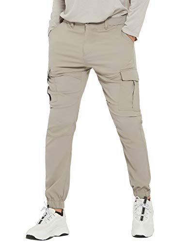 PULI Men's Hiking Cargo Pants Joggers Track Running Stretch Waterproof Outdoor Trousers Stone 32