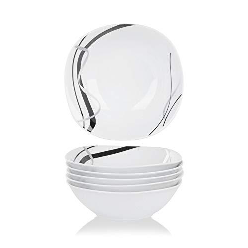 VEWEET Porzellan Müslischalen 'Fiona'6-teiligSet | Füllmenge440 ml, Durchmesser 17 cm| Ergänzung zum Tafelservice 'Fiona'|Vielseitig Einsetzbar