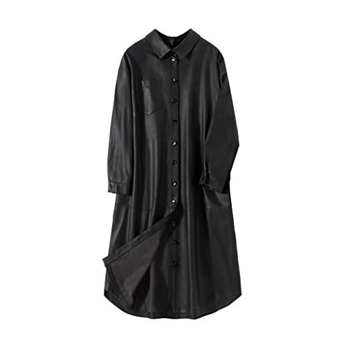 XYZMDJ Primavera sobredimensionada Negra Chaqueta Suave Mujer Gota Hombro Suelto Tendencia Mujer Moda Largo Cuero Abrigo (Color : Black, Size : S)