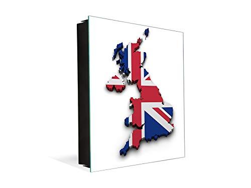 Concept Crystal Moderno Cuadro de Pared Tipo Armario para Llaves K06 Mapa de Reino Unido
