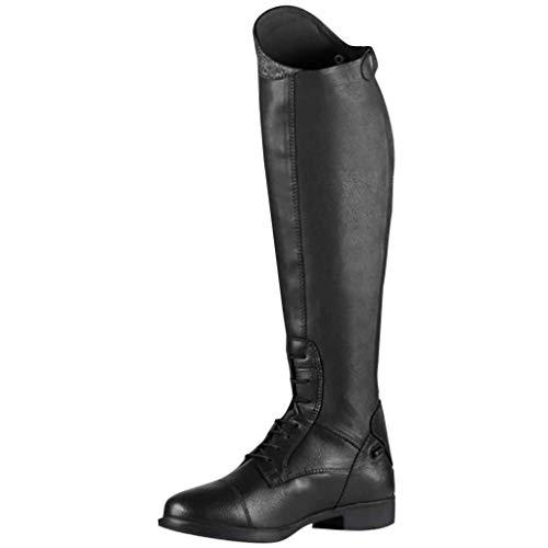 HUADUO Bota Alta hasta la Rodilla: Botas Altas hasta la Rodilla de Pantorrilla Ancha para Mujer, Zapatos de tacón bajo y Grueso, Bota de Montar Retro con Tiras y Cremallera a la Moda