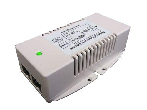 120/240VAC Input, 56V 35W Gigabit 802.3at PoE Inserter, PoE Pinout: 4,5V+; 7,8V-, UL1950, Shielded and Surge Protected, Includes Removeable US Power Cord