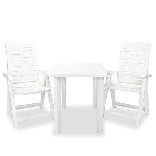 Festnight Conjunto de Jardín de Muebles de Comedor Plegable de Plástico Blanco, 1 Mesa y 2 Sillas 101x68x72cm
