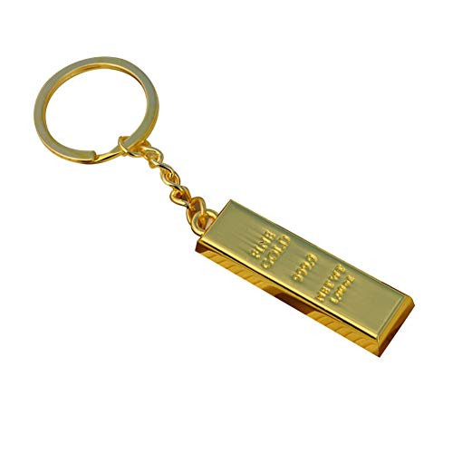 FHTMTY 1 Stück Imitation Goldbarren Schlüsselbund Charm Dekoration Coole Metall Geldbörse Tasche Anhänger Schlüsselanhänger Auto Schlüsselring Kreative Geschenk Party Favor
