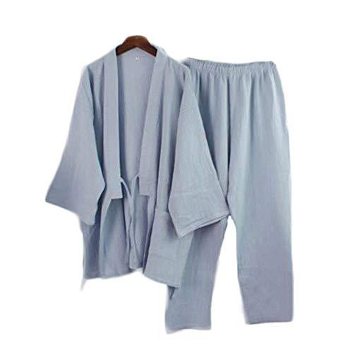 Traje de Estilo japonés, de Dos Piezas, Hombres, de algodón Fino, Albornoces, Pijamas, Albornoces de Kimono, Ropa de dormir-F08