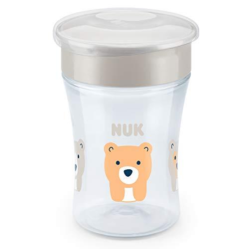 *NUK Magic Cup Trinklernbecher, 360° Trinkrand, auslaufsicher abdichtende Silikonscheibe, 8+ Monate, BPA-frei, bär (grau), 230 ml*