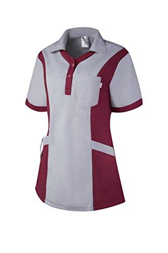 Clinotest Damenkasack Julia, Gesundheitswesen, für die Pflege, Berufsbekleidung, in Trendfarben (2XS, grau/brombeer dünn)
