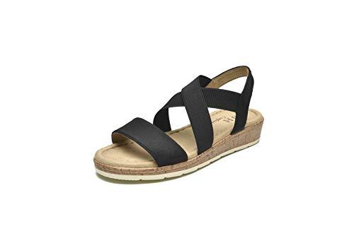 VJH confort Women's Flat sandals, Comfort Slip-on Elastic ankle strap Slingback Light Weight Casual Walking Sandals (black,7.5)
