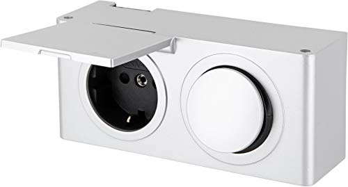 Aufbau Kombi Steckdosenleiste IP44 mit Schalter 12V - spritzwassergeschützt- Ausschalter für z.B. 12V LED Lampen Leuchten