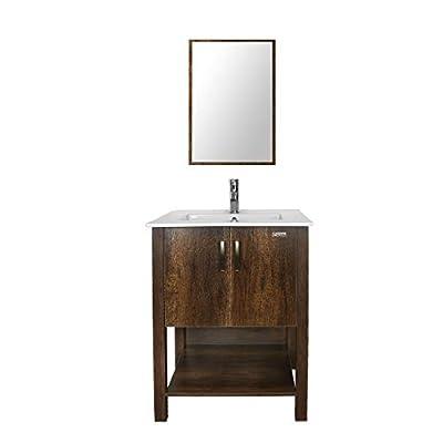 "U-Eway 24"" Brown Bathroom Vanity Sink Combo W/Overflow White Drop in Ceramic Vessel Sink Top & Brown MDF Modern Bathroom Cabinet & Chrome Solid Brass Faucet & Pop Up Drain W/Mirror"