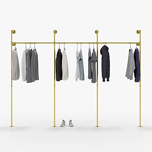 pamo Barra para ropa de diseño industrial Loft, perchero para armario de pared I dormitorio de tubos dorados estables para montaje en pared I Tubos de agua (3 compartimentos)