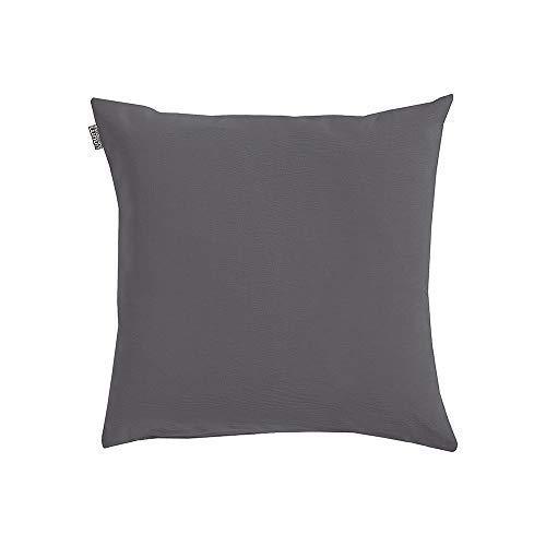 Linum Annabell Elegant Kissenhülle für Dekokissen 40cm x 40cm, 100% Baumwolle, Maschinenwaschbar, Granitgrau