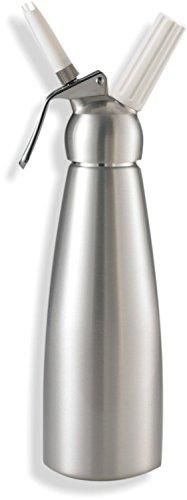 Impeccable Culinary Objects (ICO) Sifón de cocina profesional para crema montada. Dispensador de espumas y cremas fría y caliente. Cabeza y botella de Aluminio. 1 litro.