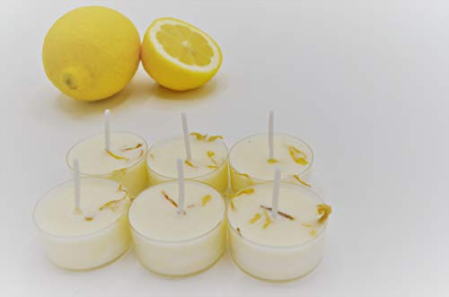 Handmade Lemongrass, Lavender and Rose Highly Scented Tea Light Candles 6 Pack...