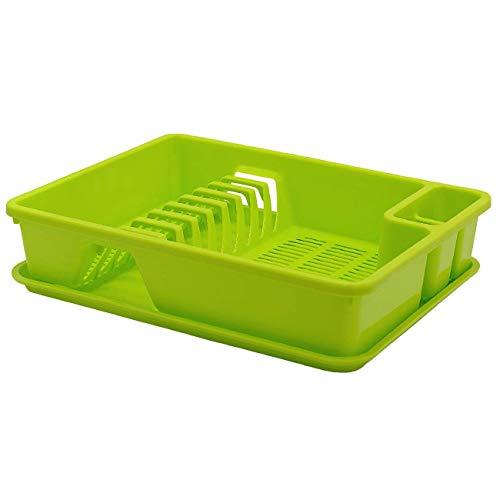 Engelland Kunststoff Abtropfgestell Abtropfgitter Abtropfschale Geschirrständer Geschirrkorb Abtropfkorb mit Abtropfwanne 38,5 x 28,5 x 8,5 cm Farbe grün