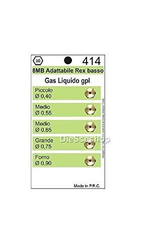 Set mit 5 Düsen für Gasherde, LPG, 8 MB, Ariston Rex, Kochfeld 4 Brenner + Backofen Durchmesser 8 mm