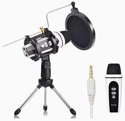 Mini micrófono con filtro pop y soporte de trípode, micrófono de grabación de condensador para transmisión en vivo, canto de karaoke, grabación de música para teléfono móvil, ordenador portátil