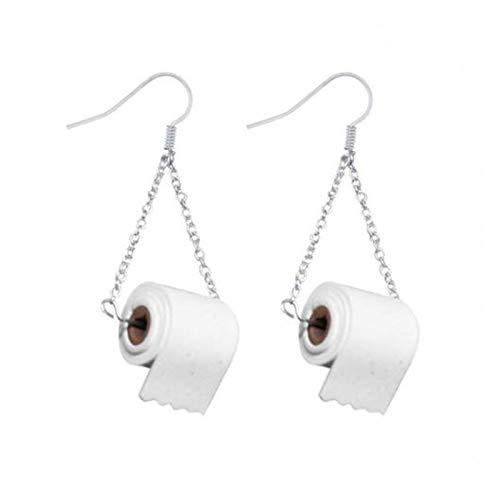 Toilet Paper Earrings Gag Gift for Women Paper Towel Rolls Dangle Statement Earrings Hook Ear Dangle