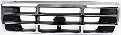 Grille Assembly Compatible with 1992-1996 Ford F-150 Plastic Chrome Shell/Painted Gray Insert