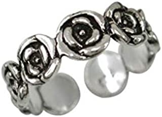 DARSHRAJ 925 Sterling Silver(Candi) Flower Designer Toe Ring/Bicchiya/Finger Ring Rose Black Oxidise Finish for Girls and ...