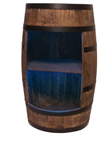 Weinregal Holz - Weinschrank Mini Bar - Alkohol Schrank Mann - Barschrank mit LED-Leuchten - 80cm hoch - Retro deko Bar Regal - Hausbar Theke - Fassmöbel (Wenge)