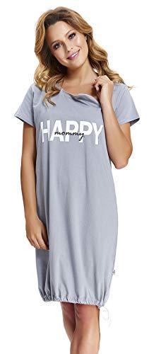 dn-nightwear TM.8061, camicia da notte da donna, 100% cotone grigio. M