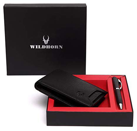 WildHorn® RFID Protected Genuine High Quality Leather Wallet & Pen Combo for Men…