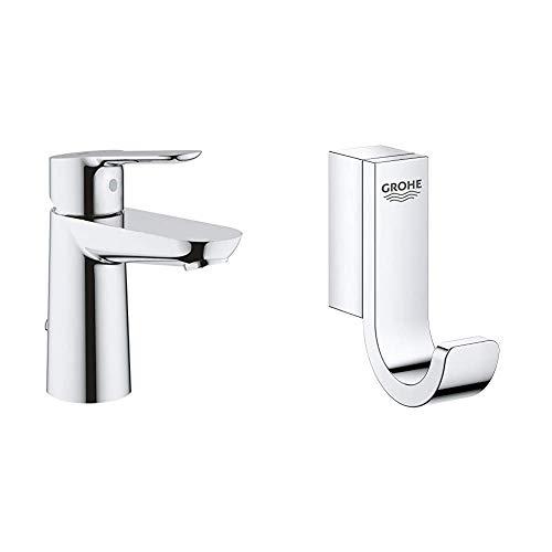 Grohe BauEdge - Grifo de lavabo monomando para instalación en un solo agujero, altura estándar, con sistema de ahorro de agua, cadena retráctil (Ref. 23329000) + Colgador, cromo (41039000)