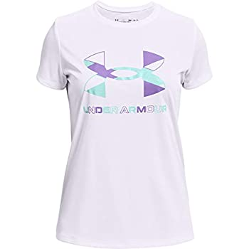 Under Armour girls Tech Graphic Big Logo Short-Sleeve T-Shirt  White  104 /Planet Purple  Youth Large