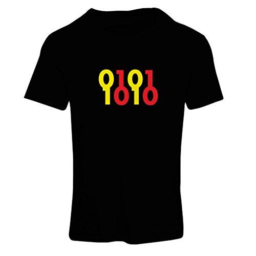 lepni.me T-Shirt Femme Code Binaire, maniaque de l'ordinateur, Cadeau d'humour de Programmeur (Small Noir Jaune)