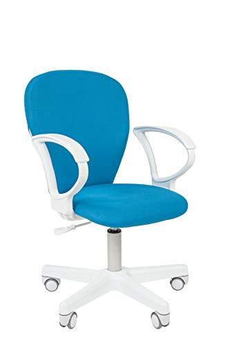 CHAIRJet Schreibtischstuhl Kinder mit Rollen - Höhenverstellbar Kinderdrehstuhl 60 kg - Armlehnen - Jugenddrehstuhl mit Praktische Polster - Kinderbürostuhl mit Rückenlehne, 105 (Blau, mit Armlehnen)