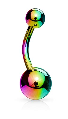 Forbidden Body Jewelry 14g Titanium IP Plated Surgical Steel High Shine Double Ball Belly Ring (Rainbow)