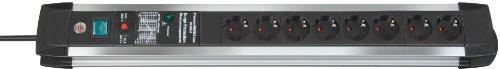 Brennenstuhl Premium-Protect-Line, Steckdosenleiste 8-fach mit Überspannungsschutz (stabiles Aluminium-Gehäuse, Steckerleiste mit 3m Kabel und Schalter, Made in Germany) silber/schwarz