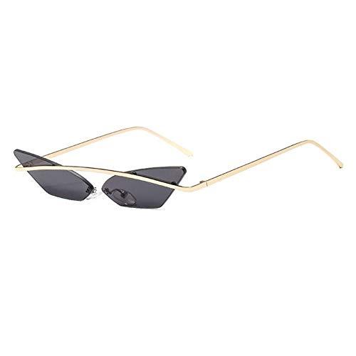 ZZOW Gafas De Sol De Mujer Sin Montura con Puentes Metálicos De Ojo De Gato Vintage, Gafas De Sol Transparentes con Lentes De Océano, Gafas De Sol Triangulares para Mujer
