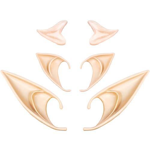 3 Pares Orejas de Elfo de Látex Orejas de Hada de Pixie Orejas de Duende Puntiagudas Suaves de...