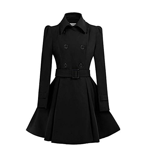 ForeMode Women Swing Double Breasted Wool Pea Coat with Belt Buckle Spring Mid-Long Long Sleeve Lapel Dresses Outwear(Black3,Medium