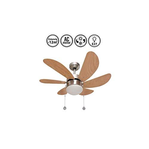 003 Oferta ventilador de techo 6 aspas níquel/haya, 1XE27 motor reversible. AkunaDecor.