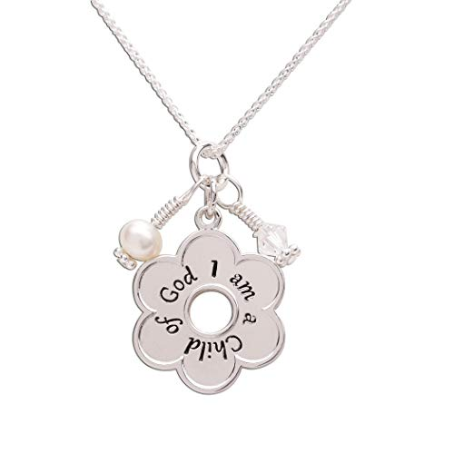 "Sterling Silver""I am a Child of God"" Daisy Necklace Religious Jewelry Gift for Girls, 14"""