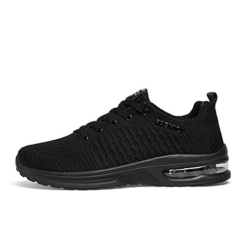 Zapatos deportivos para hombre Running Air Cushion Deportes Transpirable Ligero Cómodo Resistente al desgaste Zapatos, Black, 39.5 EU