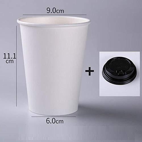 LIPYCFA Vasos Desechables 100Pcs / Pack Tazas De Papel Blanco con Tapa Taza De Café Desechable Taza De Té con Leche Accesorios De Bebida para El Hogar Suministros para Fiestas-I